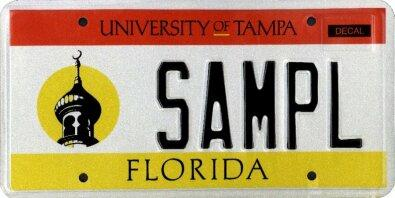 <b>University of Tampa</b>  <br> Effective Oct. 1, 2002.<br> <br> <li> Total plates issued in 2012: 1,426 <li> Organizations receiving proceeds: University of Tampa.