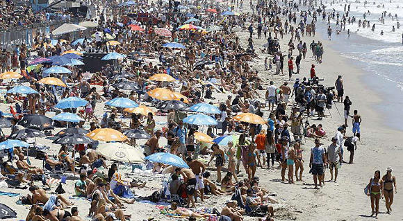 Crowds at Huntington Beach