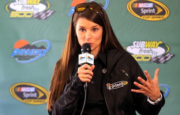 NASCAR driver Danica Patrick addresses the media before practice for the Sprint Cup Series Subway Fresh Fit 500 at Phoenix International Raceway on Friday.
