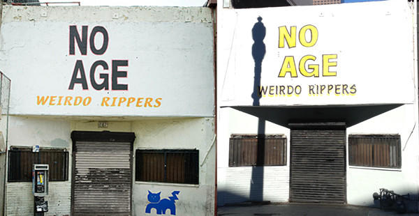 "Until recently, the wording on the Smell had looked like it does on the left. It was painted in 2007 for No Age's ""Weirdo Rippers"" album cover. But it has been repainted, seen on the right, by artists unknown."