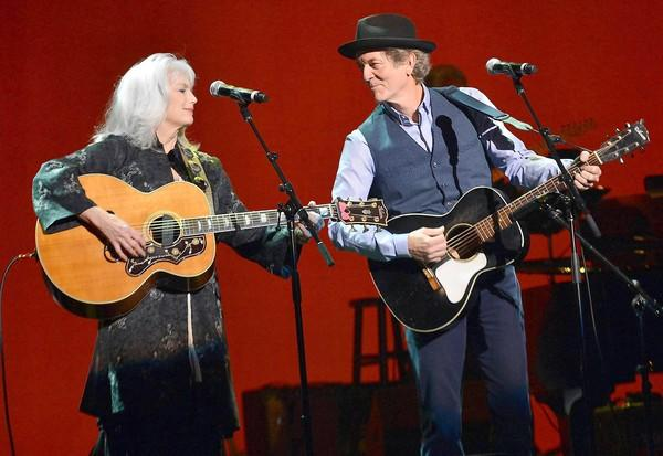 Singers-songwriters Emmylou Harris and Rodney Crowell backstage at the Saban Theater on Feb. 7, 2013, in Los Angeles.