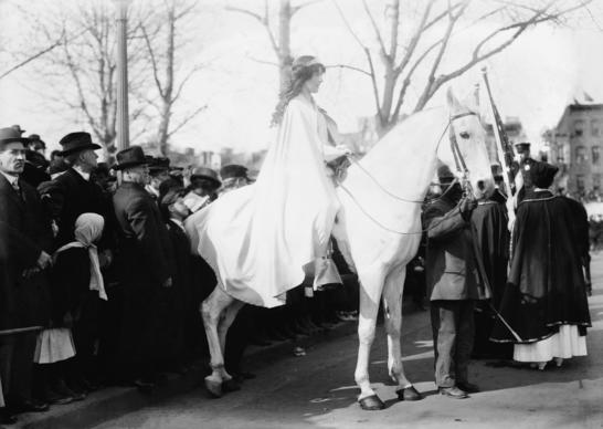 On March 3, 1913, 5,000 women marched in Washington to support the right of women to vote. Lawyer Inez Milholland led the procession in a white cape astride a white horse. Ceremonies in Washington on March 3, 2013 will honor the event.