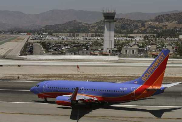 A Southwest jet taxis for take off at the Bob Hope Airport.