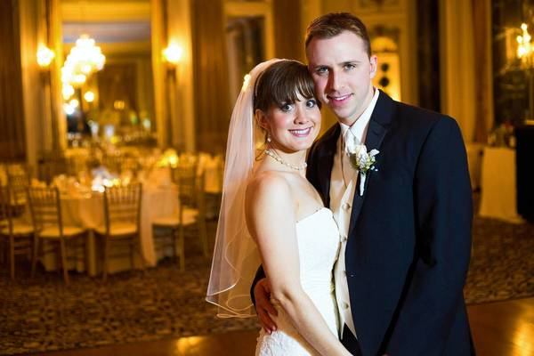 Kelli Raia and Adam Dickson in a ballroom at The Belvedere in Mount Vernon.