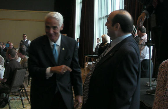 Former Gov. Charlie Crist (left) and former Senate Minority Leader Steve Geller at the Westin Diplomat Hotel in Hollywood