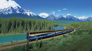 Rocky Mountaineer at Morant's Curve near Lake Louise, Alberta.