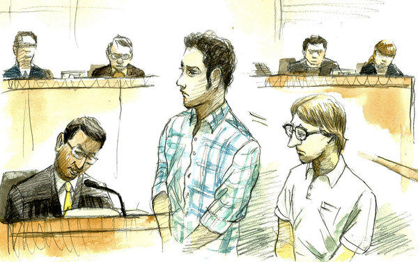 A courtroom sketch shows Christopher Browning, right, and Skyler Dozierwalker on Friday in the Naha District Court in Naha, Japan.