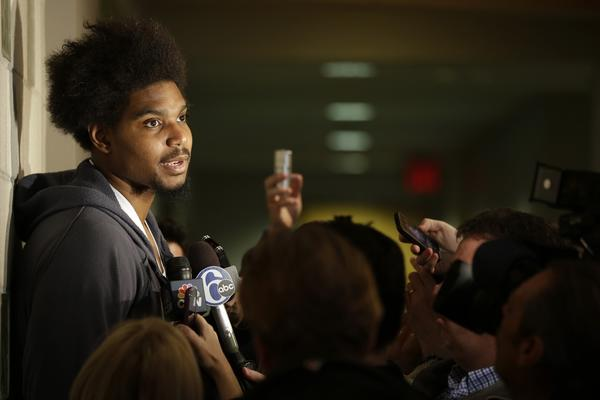Philadelphia 76ers center Andrew Bynum speaks to reporters at the team's training facility.