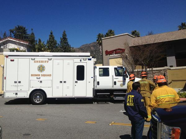The L.A. County Sheriff's bomb squad was one of several agencies that responded to the explosion at the Sport Chalet.