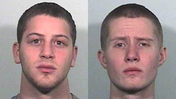 Booking photos of Irvin Vaysburg, left, and Michael Swanson.