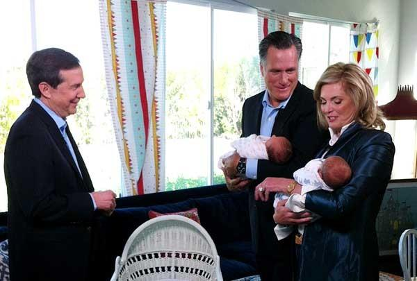 Former Republican presidential candidate Mitt Romney and his wife Ann, and two grandchildren, with Chris Wallace