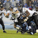 Joe Flacco gets tackled in the first quarter