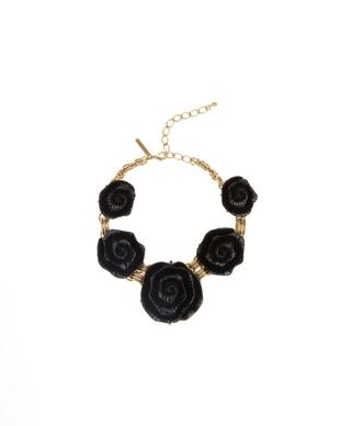 Oscar de la Renta black resin floral necklace with Russian gold.