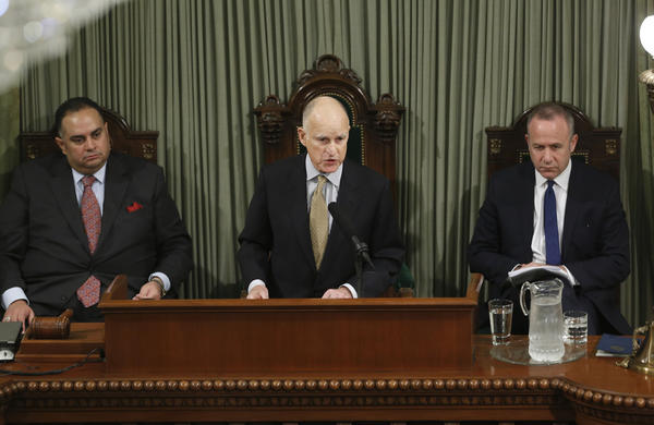 Gov. Jerry Brown gives his State of the State address in January flanked by Assembly Speaker John Perez (D-Los Angeles), left, and Senate President Pro Tem Darrell Steinberg (D-Sacramento). All three reported Saturday that they accepted gifts last year.