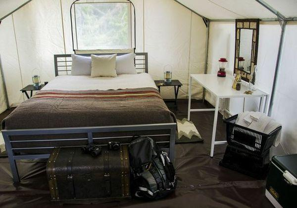 Wanderlust Hospitality offers glamorous camping, or glamping, in Washington's San Juan Islands. Luxury tents are outfitted with a queen-size bed and fine linens.