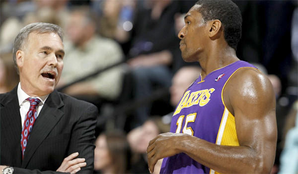 Metta World Peace, right with Mike D'Antoni, was retroactively assessed a flagrant foul.