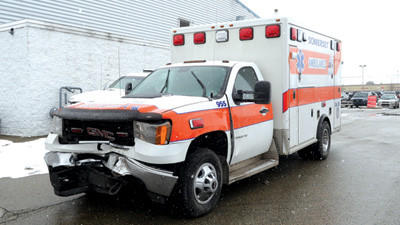 This Somerset ambulance was left undriveable after an accident in Ferndale Borough Friday.
