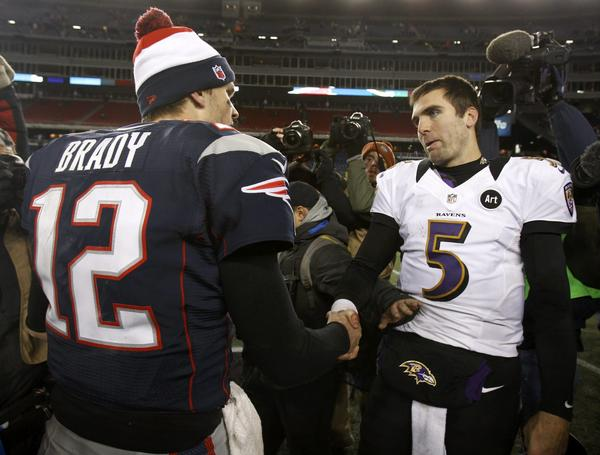 New England Patriots quarterback Tom Brady and Ravens quarterback Joe Flacco shake hands after the Ravens beat the Patriots in the AFC title game in January.