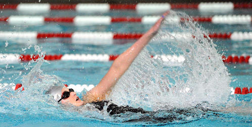 Parkland's Megan Polaha swims the backstroke leg of the girls 200 yard individual medley during the PIAA District 11 Class 2A boys and girls high school swimming championships at Parkland High School Friday.
