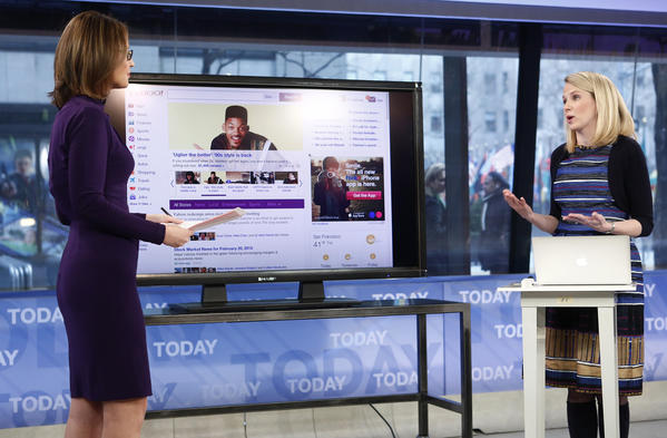 "Yahoo CEO Marissa Mayer is seen introducing the website's redesign on NBC News' ""Today."""