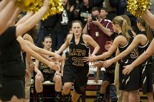South Bend Tribune/ROBERT FRANKLIN.Brandywine's Mackenzie Shelton takes the court before the girls basketball district championship game against Watervliet at Watervliet High School on Friday, March 1, 2013. .