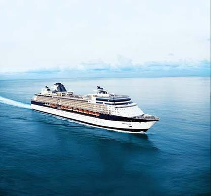 The Celebrity Infinity sails out of the Port of Miami and Port Everglades.
