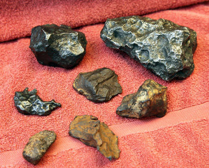 This is a collection of rocks thought to be meteorites that are owned by Brad Wilson of Aberdeen.