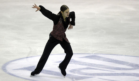 Jason Brown in Friday's short program at the World Junior Championships.   (Claudio Villa / Getty Images)