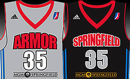 A look at the MGM Resorts logo on the jerseys of D-League rival Springfield Armor.