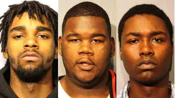 Booking photos of Akeem L. Simmons, Garlin Minor and Aramis McKinzie (from left)