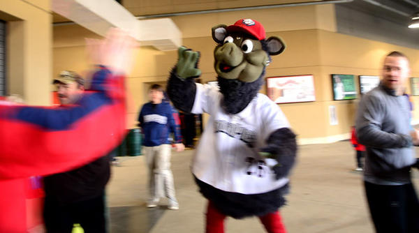 IronPigs mascot Ferrous greets fans Saturday.    Saturday was a celebration of National Pig Day and it was the first day of single game ticket sales for the Lehigh Valley IronPigs at Coca-Cola Park.