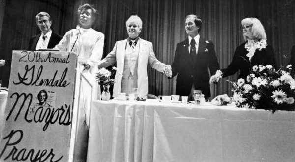 Pat Boone, second from right, was the special guest at the 1983 Prayer Breakfast. He stands with, from left, Jarrett Anderson, Loretta Thompson-Glickman, Mayor Robert Garcin and Beverly Garcin.