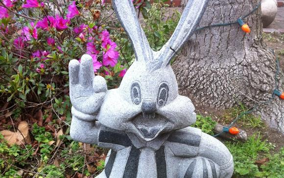 A guard stands watch outside the Bunny Museum in Pasadena