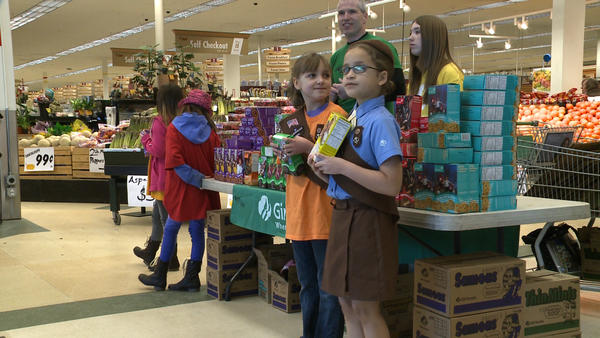 Girl Scouts of Alaska selling cookies at Fred Meyer's in Anchorage on Mar. 1, 2013.