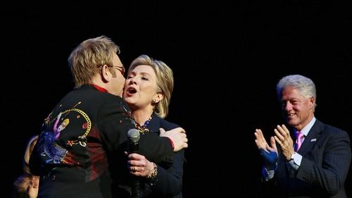 Elton John performs at a 2008 Hillary Clinton fundraiser at Radio City Music Hall in New York. (Charles Dharapak / Associated Press)