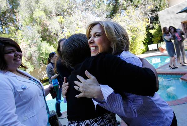 City Controller Wendy Greuel greets female supporters at a house party in Hancock Park.