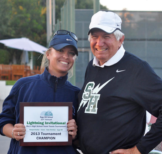 Newport Harbor High boys' tennis coach Kristen Case, left, holds the award for winning the Lightning Invitational next to Sage Hill Coach A.G. Longoria.