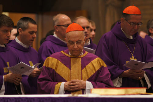 Cardinal Francis George and other cardinals celebrate Mass today for a group of American seminarians.