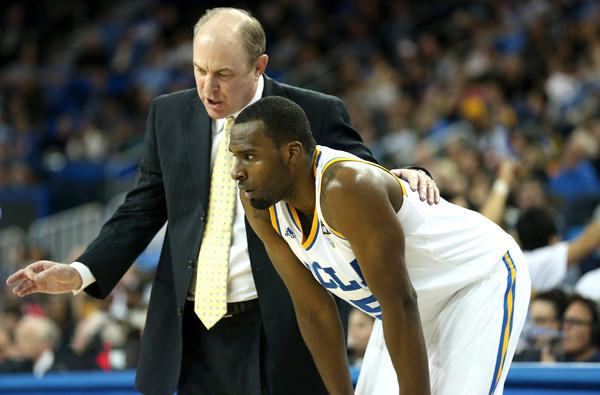UCLA Coach Ben Howland talks with freshman Shabazz Muhammad during a game against Washington State at Pauley Pavilion.