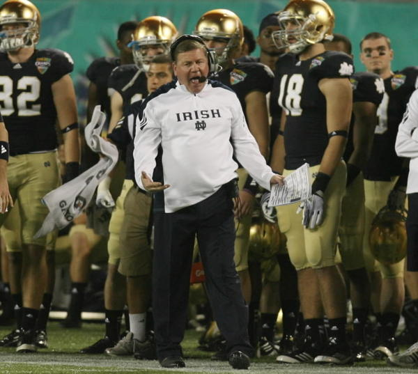 Head coach Brian Kelly leads the Notre Dame program following an undefeated season and a runner-up spot in the BCS National Championship Game.