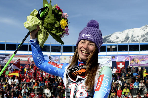 Tina Maze celebrates after winning the World Cup downhill race Saturday in Garmisch-Partenkirchen, Germany.