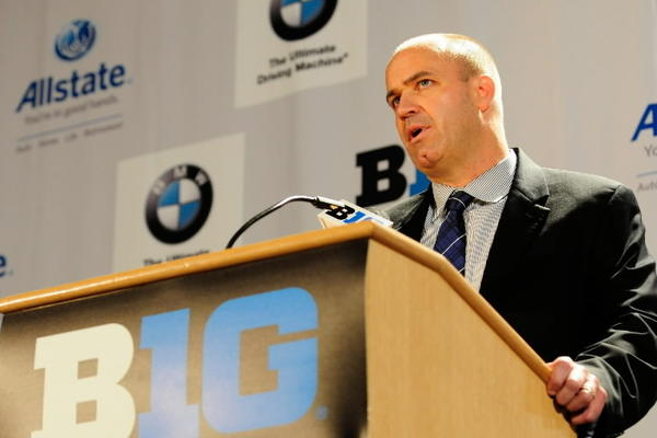 Penn State head coach Bill O'Brien speaks during the Big Ten media day at the McCormick Place Convention Center. Mandatory Credit: Reid Compton-US PRESSWIRE