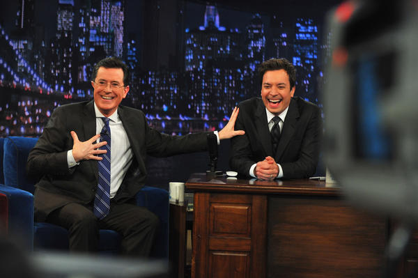 "NEW YORK, NY - FEBRUARY 21:  Stephen Colbert and Jimmy Fallon during a taping ""Late Night With Jimmy Fallon"" at Rockefeller Center on February 21, 2013 in New York City."