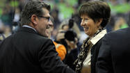 – It has come to Geno Auriemma's attention that Notre Dame coach Muffet McGraw may have his number.