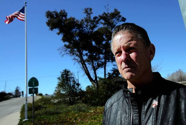 Marine veteran Steve LeBard is a driving force behind the effort to put up a monument on land owned by Caltrans in Orcutt, Calif. It would consist of five columns -- one each for the Air Force, Army, Coast Guard, Marines and Navy -- encircling a pole flying an American flag.