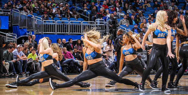 The Orlando Magic dancers perform during second quarter action of a game against the Memphis Grizzlies at Amway Center in Orlando, Fla. on Sunday, March 03, 2013. (Joshua C. Cruey/Orlando Sentinel)