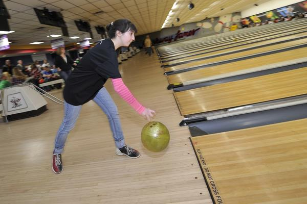 Lauren Gutterman, 16 of Macungie releases the ball. Big Brother Big Sister of the Lehigh Valley held their annual bowling fundraiser Sunday March 3, 2013 at AMF Parkway Bowling Lanes  in Allentown. The event hopes to raise $200,000 to support children across the Lehigh Valley.