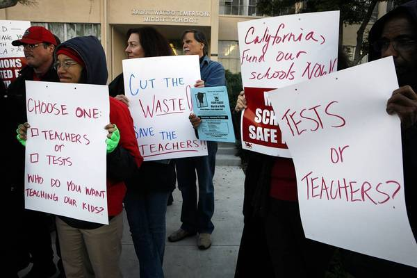 Teachers at Emerson Middle School in Los Angeles rally in 2009 to protest what they call another layer of testing. Standardized testing is on the rise in U.S. schools, but so is resistance to it in some places.
