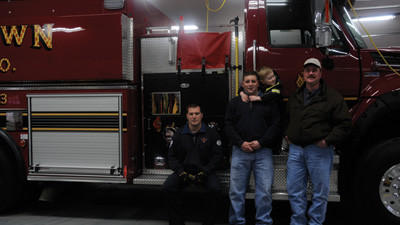 Members of the Stoystown volunteer fire department pose with their new tanker. From left: 2nd Assistant Chief Christian Boyd, Lt. Scott Kennel, Johnathan Kennel and Chief Dave Johnson.