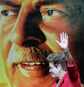 Brazilian President Dilma Rousseff helps mark 10 years in power of the Workers' Party, or PT, during a celebration in Sao Paulo last month.